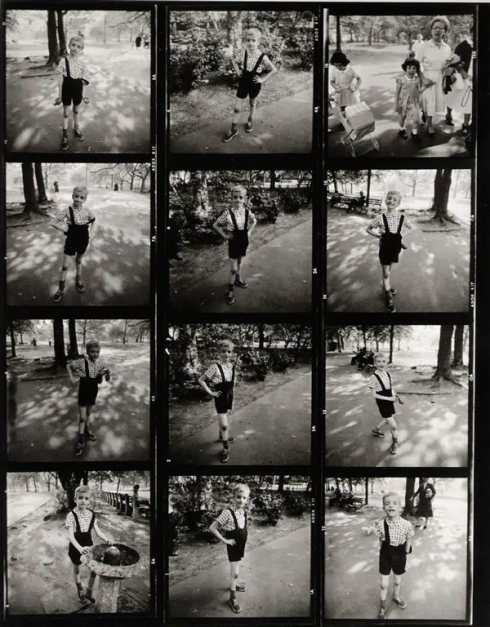 "The contact sheet of the iconic photo, ""Child with A Toy Hand Grenade,"" taken by Diane Arbus. Central Park, NY. 1962."